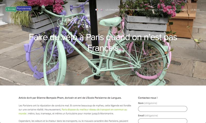 Capture d'écran de l'article pour l'École parisienne